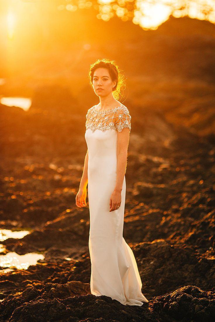 A bride wearing Marchesa (from Saks on Fifth Avenue) for a Wedding in the Woodland, at the Wickannish Inn, Tofino, British Columbia. Images by Nordica Photography.