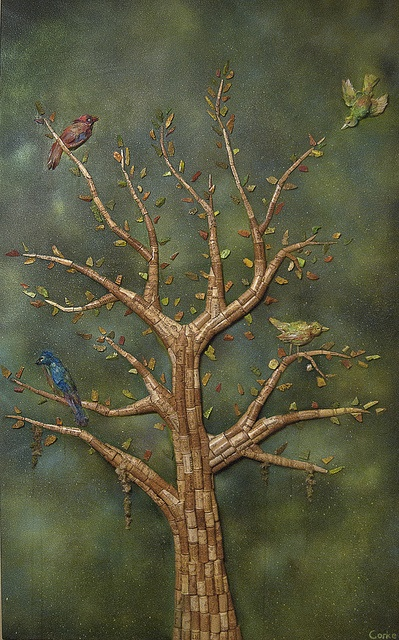 """""""A Requiem of Song Birds""""    3' X 5' UVLS Coated Mixed Media, Spray paint, Acrylic, glue, corks, foam, feathers and moss on Canvas    #recycling #recycle #art #AndrewCorkeArt #NewAgeArt #Nature #songbirds #Wine #Winecorks #corks #birds #Life  #Mixedmedia #3D #Recycledmaterial #Fineart #Awesome #Epic"""