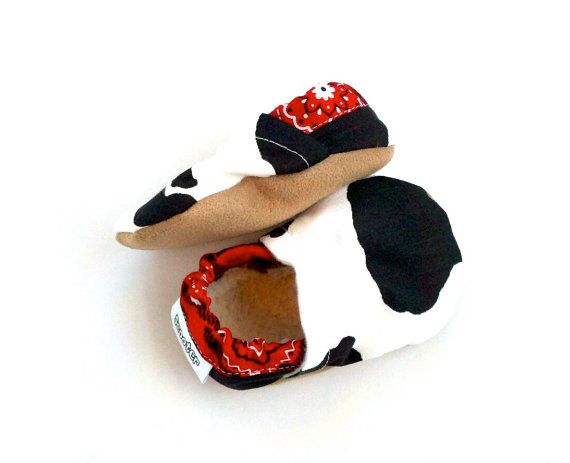 cow baby shoes cow slippers cow booties black by ScooterBooties, $23.00