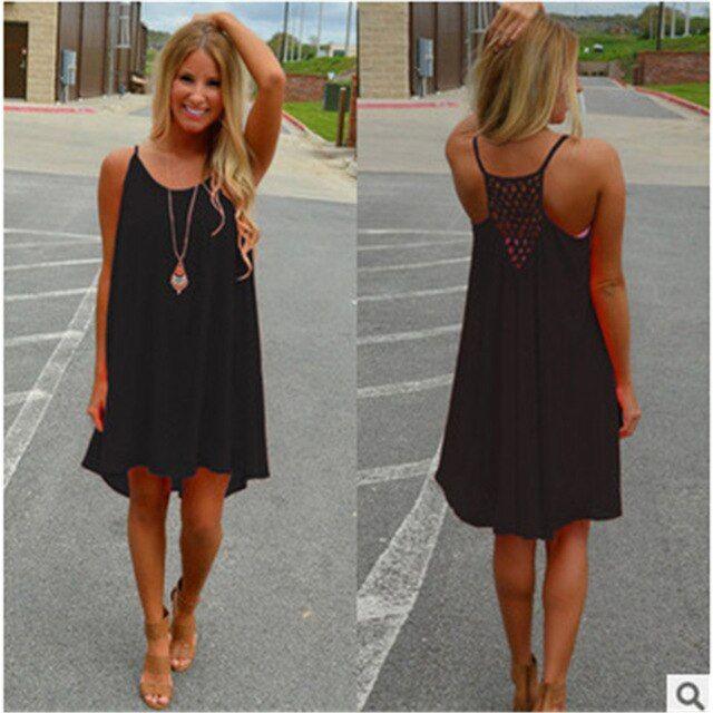 Women beach dress summer chiffon voile mini dress plus size loose sleeveless hollow out spaghetti strap strapless dresses