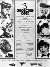 The Threepenny Opera was one of the first musical films. Weil and Brecht filed lawsuits against the production company over its handling of the script and music; and both collected damages. The film was screened for the first time in February 1931.