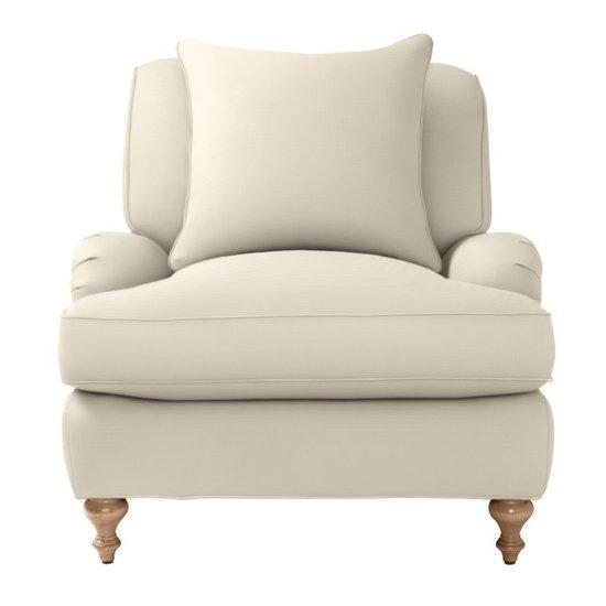 overstuffed linen chair