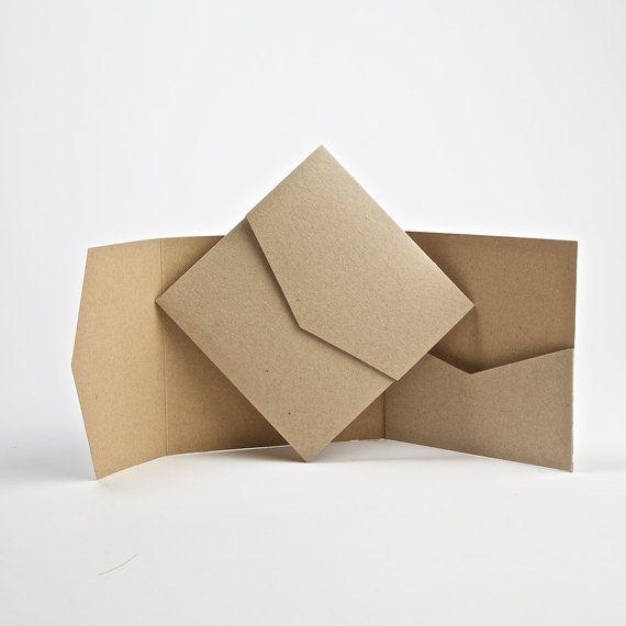Diese Kraft Und Recycled Pocketfold Einladungen Messen 144 X 144 Mm Wenn  Geschlossen Und Komplett Mit