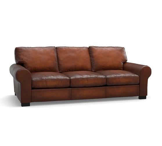Turner Roll Arm Leather Sleeper Sofa | Pottery Barn