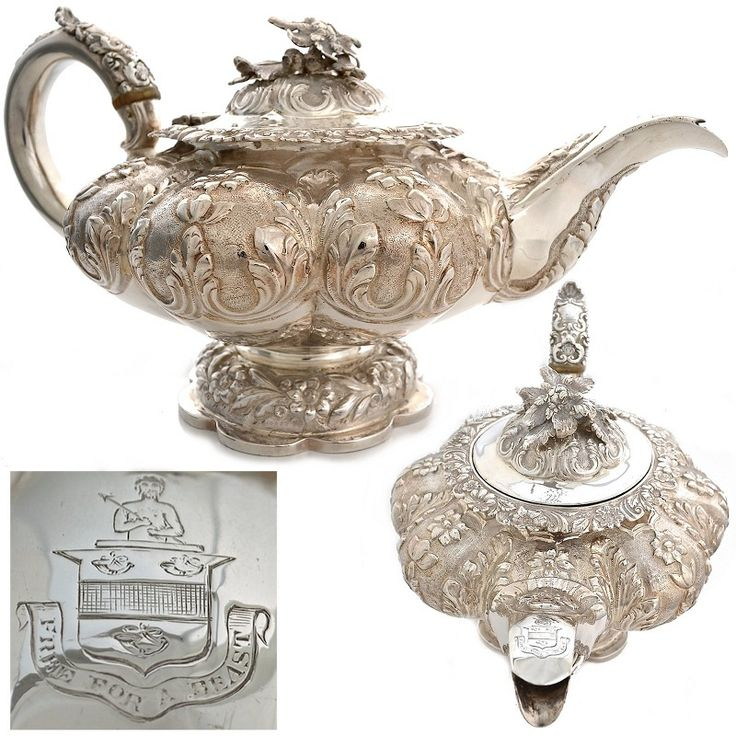 Georgian antique sterling silver English teapot... ᘡղbᘠ