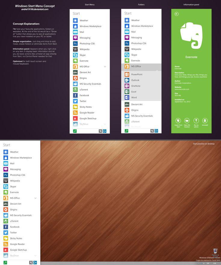Windows Start Menu Concept by andrei19190.deviantart.com on @deviantART