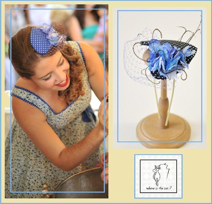 Blue & white headpiece heart shaped mounted on headband