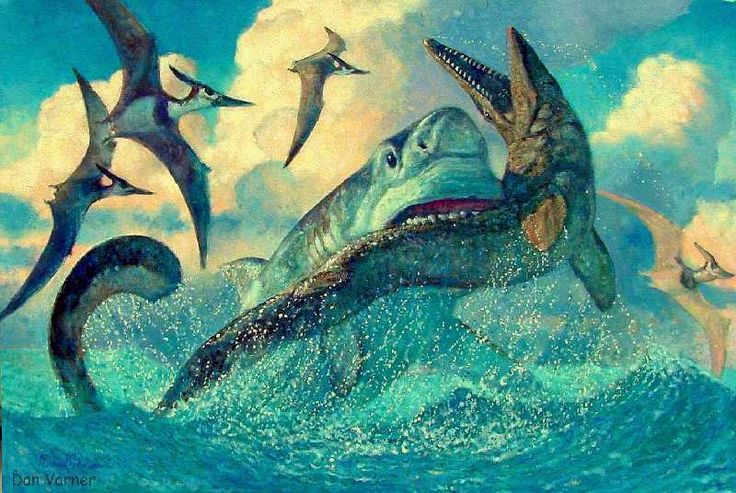 Mosasaurus (prey here); Late Cretaceous (70 - 66 Ma); Squamata; Discovered by Conybeare, 1822 ::: Pteranodons in background ::: shark?