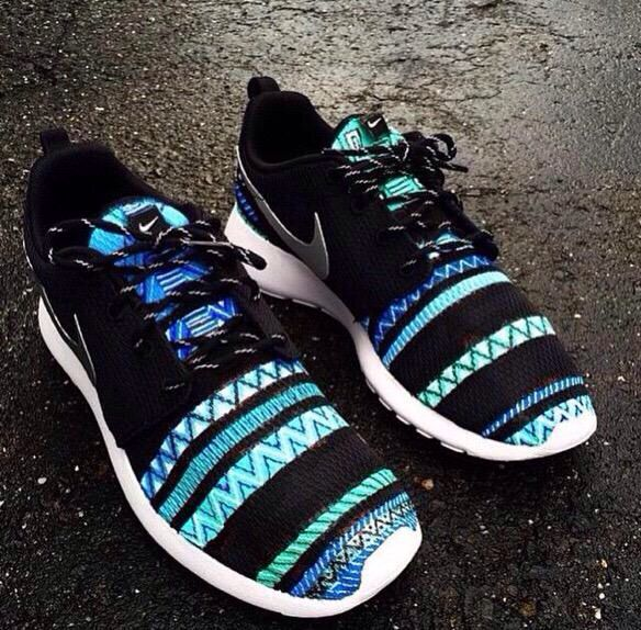 Turquoise and black tribal striped Roshe Run