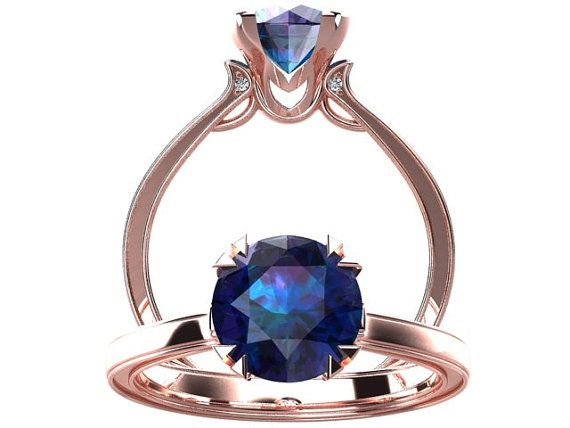 Victorian inspired 14k Rose gold Engagement Ring Solitare Ring 1.25 ct VVS Alexandrite W17A14R on Etsy, $898.10 AUD