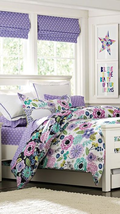 Like colors and think.could make colored picture art. Abby Floral Duvet Cover #girls #bedrooms