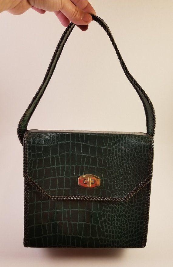 sale uk cheap for sale sells Vintage Green Patent Leather Handbag - crocodile bag ...