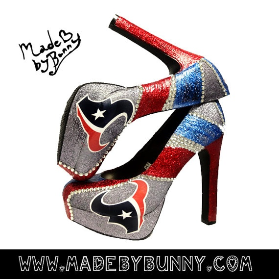 Texans NFL Rhinestone Glitter Heels...If only I had these for the game today :)
