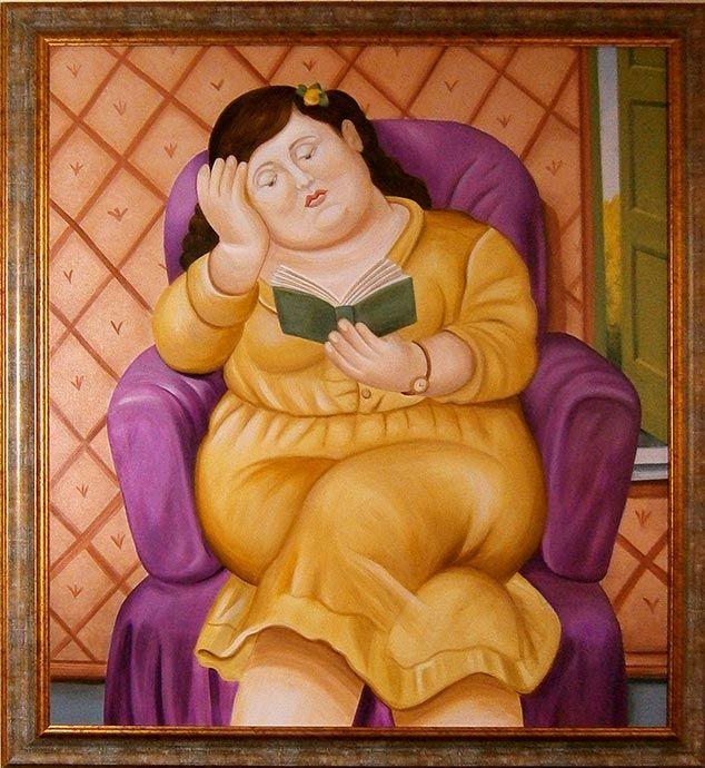 """Rivisitazione della """"Donna che legge""""  Botero 90 x 120 cm"""