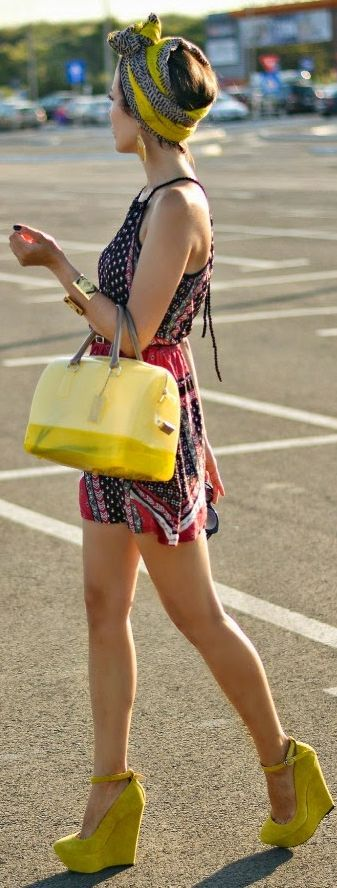 Jessica Buurman Yellow Suede Ankle Strap Platform Wedges by J'adore Fashion