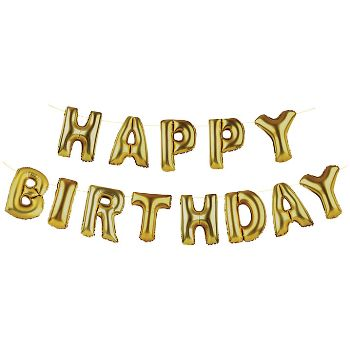 Gold Happy Birthday Balloons: Surprise your guests with this fabulously loud Happy Birthday golden balloon banner! Perfect for birthday celebrations for people of all ages, includes 13 letters and a ribbon for hanging.