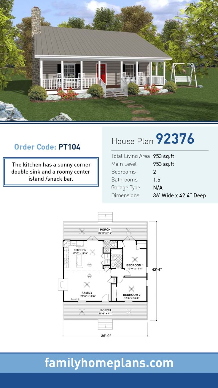 Home snack center - Country House Plan 92376 Total Living Area 953 Sq Ft 2 Bedrooms And
