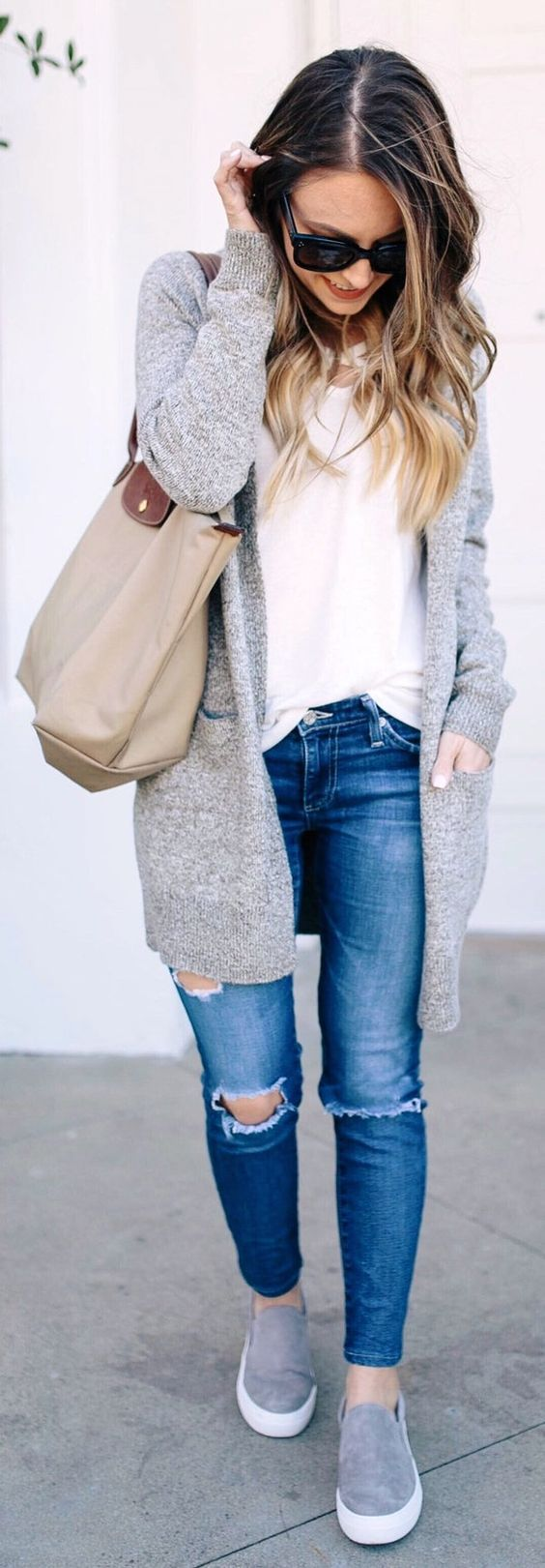 #winter #fashion / Grey Cardigan / White Top / Destroyed Skinny Jeans / Grey Sne… – >>Outfits>>