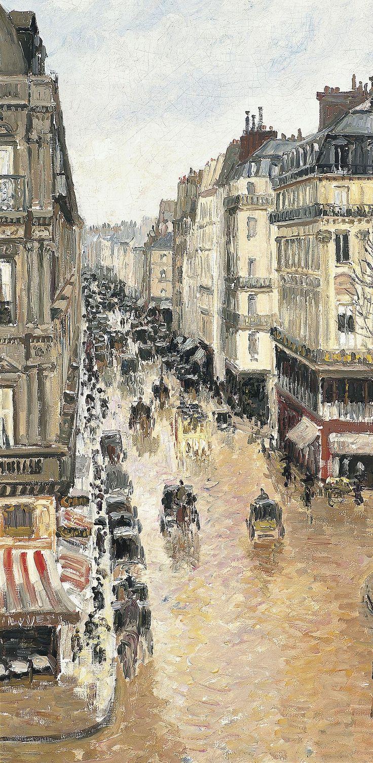 """Camille Pissarro (1830-1903) ~ """"Paris, Rue Saint-Honoré, Après-midi, Effet de pluie"""", 1897 (Détail) ~ Huile sur Toile Originale 81 x 65 cm ~ Musée Thyssen-Bornemisza, Madrid."""