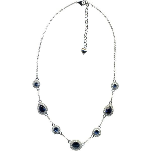 Carolee Faux Sapphire and Diamond Necklace, Blue ($30) ❤ liked on Polyvore featuring jewelry, necklaces, round diamond necklace, sapphire teardrop necklace, diamond chain necklace, blue sapphire necklace and blue diamond necklace
