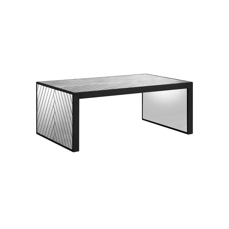 Madison Park Mirrored Chevron Coffee Table, Silver
