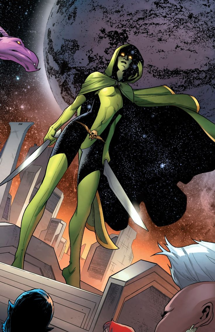 The last of the Zen-Whoberi race, Gamora was adopted by the villainous Thanos and raised as an assassin. Gamora turned on her adopted father and now uses her abilities to help those who cannot help themselves. A veteran of the Annihilation Wave, Gamora now travels with the Guardians of the Galaxy and is known as the Most Dangerous Woman in the Universe.