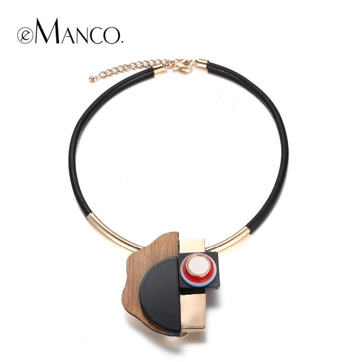 Trendy Unique Design Geomeyric Collar Choker Necklace & Pendant Women Resin Wood Rope Alloy Gold Plated Summer Jewelry
