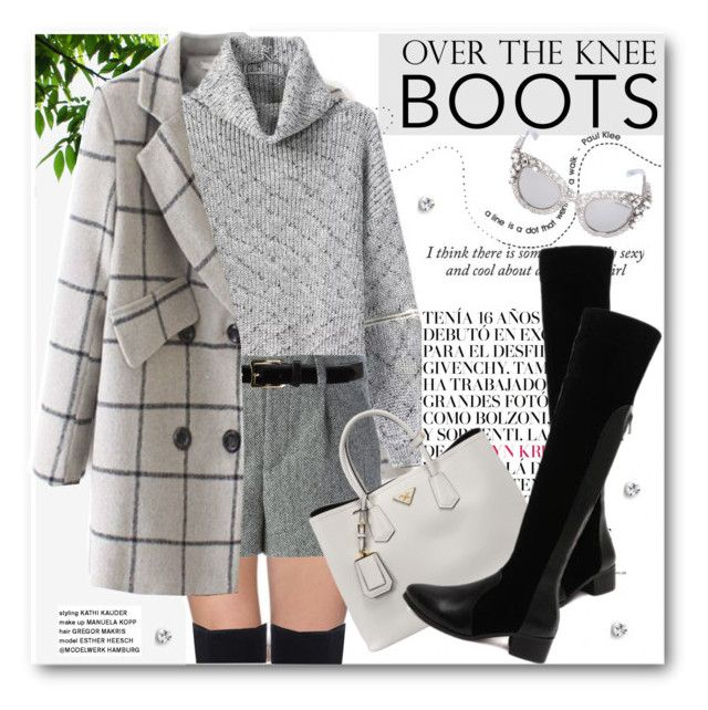 """""""Rock On: Over-The-Knee Boots"""" by svijetlana ❤ liked on Polyvore featuring RED Valentino, D'Amico, Prada, Dolce&Gabbana, polyvoreeditorial and OverTheKneeBoots"""
