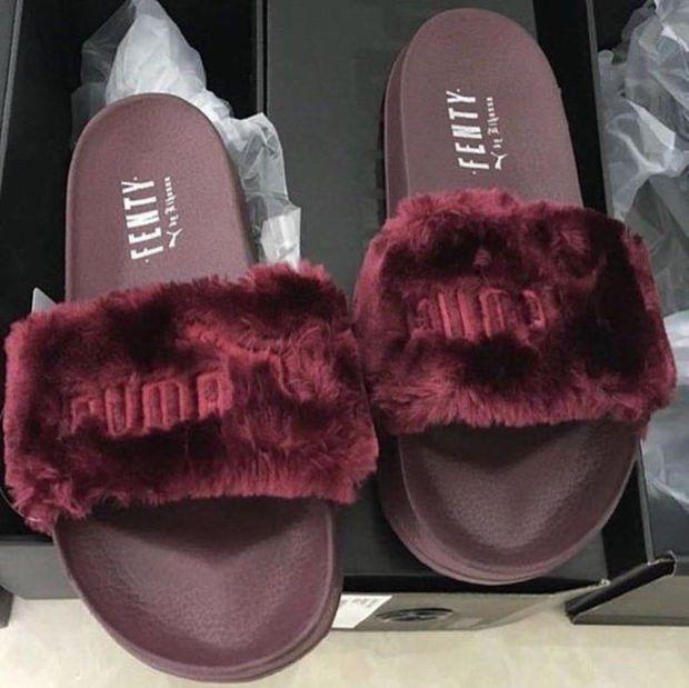 "New ""PUMA"" Rihanna Fenty Leadcat Fur Slipper Shoes (5- colors)"