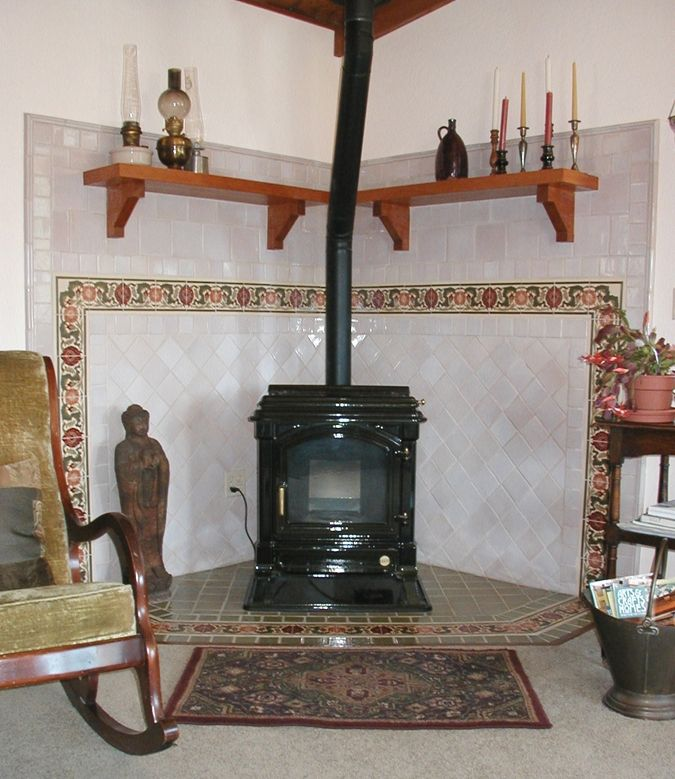 surrounds for wood burning stoves custom made arts crafts wood stove surround decorative - Wood Stove Backsplash