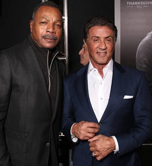 Carl Weathers and Producer Sylvester Stallone attend the premiere of Warner Bros. Pictures' 'Creed' at Regency Village Theatre on November 19, 2015