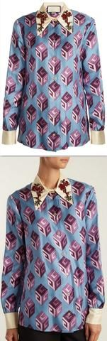GG Wallpaper-print Embellished Collar Blouse