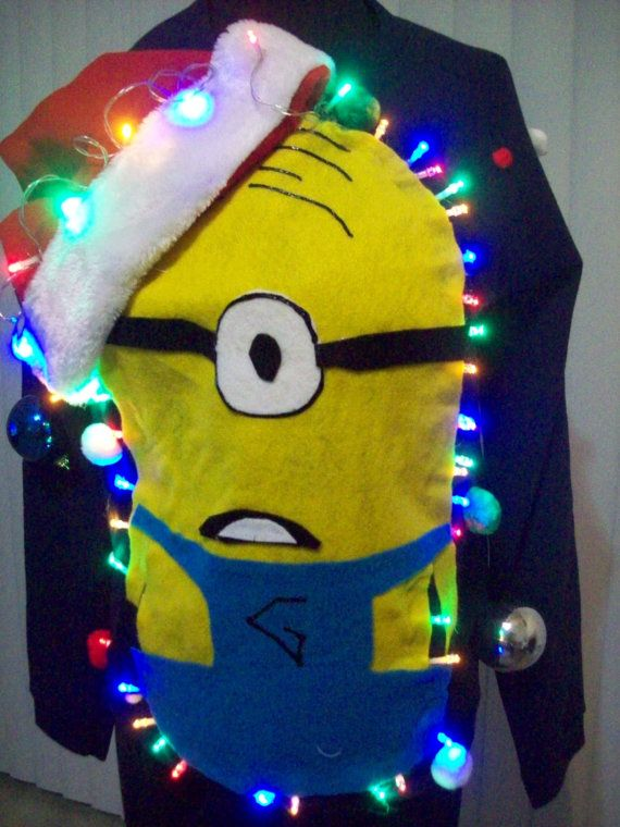 Preorder Now to get by Thanksgiving Made on Brand New Boy Kid SweatShirts 5 years and older Christmas lights color may vary. Ugly Christmas Sweater Minions Funny  with lights a Party Winner. with lights batteries included ! Size Chart added to convert to girl sizes. Minion may come with 1 or 2 eyes if there is a certain eye you refer please add it in your notes during purchase  boy sizes xxl 18 xl 14-16 Large 12-14 Medium 8 Small 6-7   SPOT Clean only. Please dont buy if your kid is to…