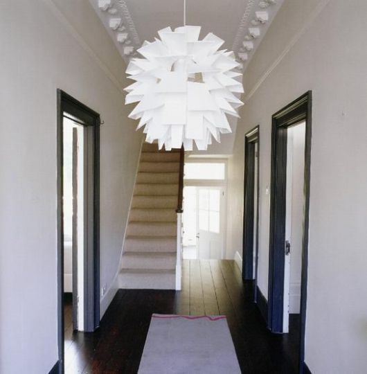 First Impressions 10 Ideas For Entrance Hallway Decor: Simple Palette, Feature Pendant.