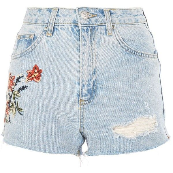 Topshop Petite Fire Flower Denim Shorts ($44) ❤ liked on Polyvore featuring shorts, bleach denim, short jean shorts, flower shorts, topshop shorts, bleached denim shorts and jean shorts