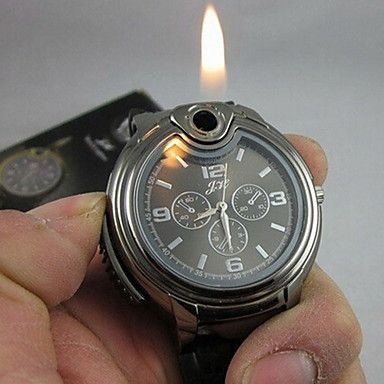 Men's Watch Cool 2-in-1 Quartz Watch + Butane Flame Lighter (Assorted Colors) Wrist Watch Cool Watch Unique Watch Fashion Watch - USD $ 8.99