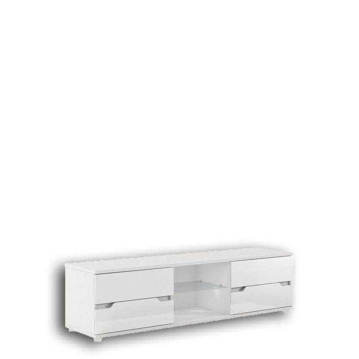 Szafka telewizyjna Alaska P9RXAS30 FM BRAVO  Stylowa szafka pod telewizor z serii meblowej Alaska, dostępna w białym kolorze. Szafa posiada 4 szuflady, oraz szklaną półkę podświetlaną oświetleniem LED w białej, zimnej barwie. Podobnie jak pozostałe elementy meblowe z serii Alaska front wykonany jest na wysoki połysk z płyty MDF Szafka jest bez uchwytowa. Szuflady zamontowane są na trwałych, metalowych prowadnicach. Szafka pod telewizor utrzymana jest w nowoczesnej i eleganckiej stylistyce.