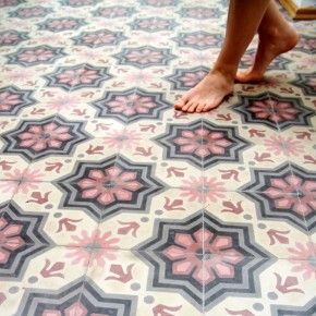 Moroccan style tiles in a delicate pink and blue pattern, perfect colour combination for 2016 (Pantone colours of the year Serenity and Rose Quartz)