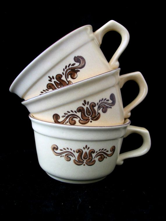 3 Pfaltzgraff Village Coffee Cups Vintage 1970s Set of 3