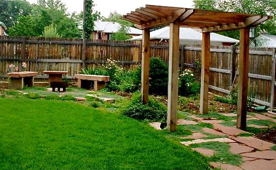 Cedar pergola, Backyards and Benches on Pinterest