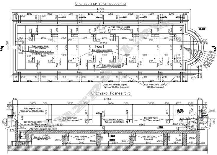 Опалубочный план в проекте бассейна