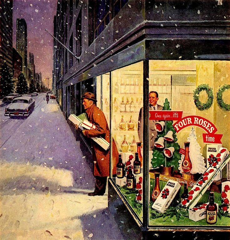 Christmas Shopping: Four Roses Whiskey, 1955. Roger Wilkerson.
