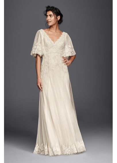 Gorgeous wedding dress with flutter sleeves by #DavidsBridal