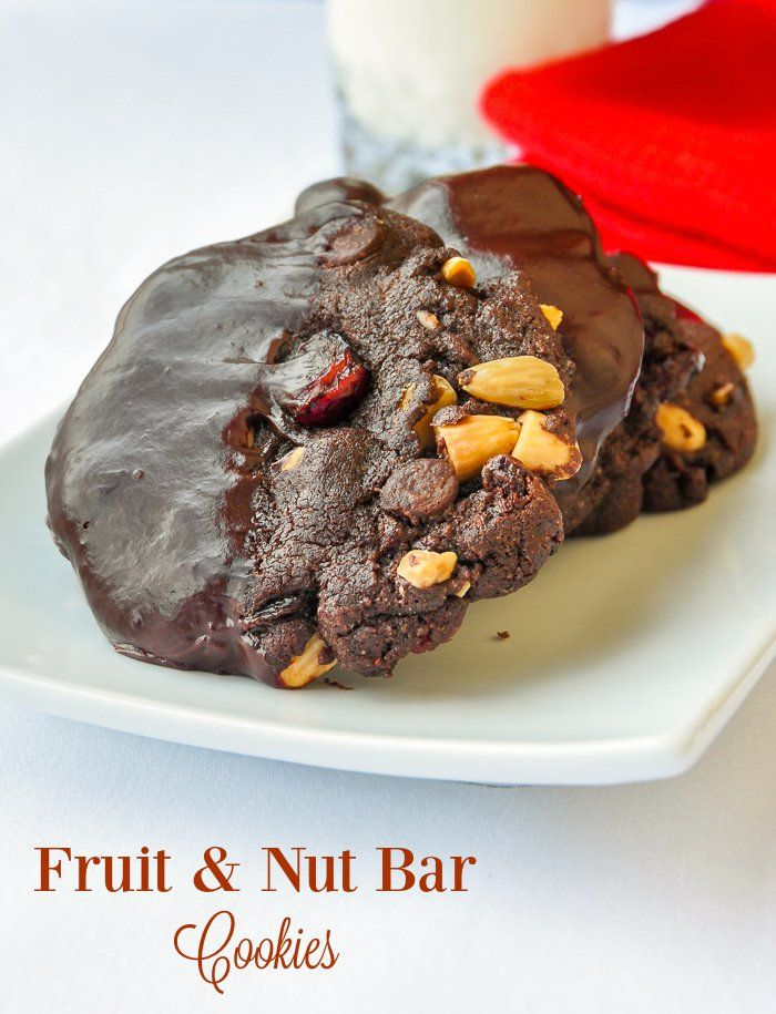 Fruit & Nut Bar Cookies - inspired by Cadbury's Fruit and Nut candy bar, this recipe combines favorite dried fruits like cranberries or golden raisins with a double chocolate chip cookie.