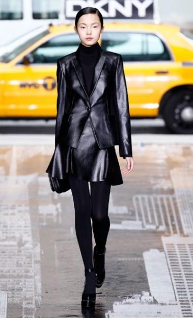 DKNY: Colors Pop, Dkny Nyfw, Dkny Fall, Dark Palettes, Fashion Week, Black Leather, Fall 2012, Black On Black, Fall Fashion