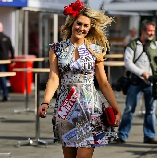 """Lydia here may well be the best dressed at Aintree Ladies Day 2015 - live pictures here http://t.co/QHclt9iABf"""