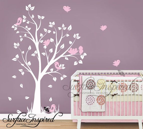 Nursery Wall Decals - Baby garden tree wall decal for boys and girls  nursery. Tree wall decal with flying