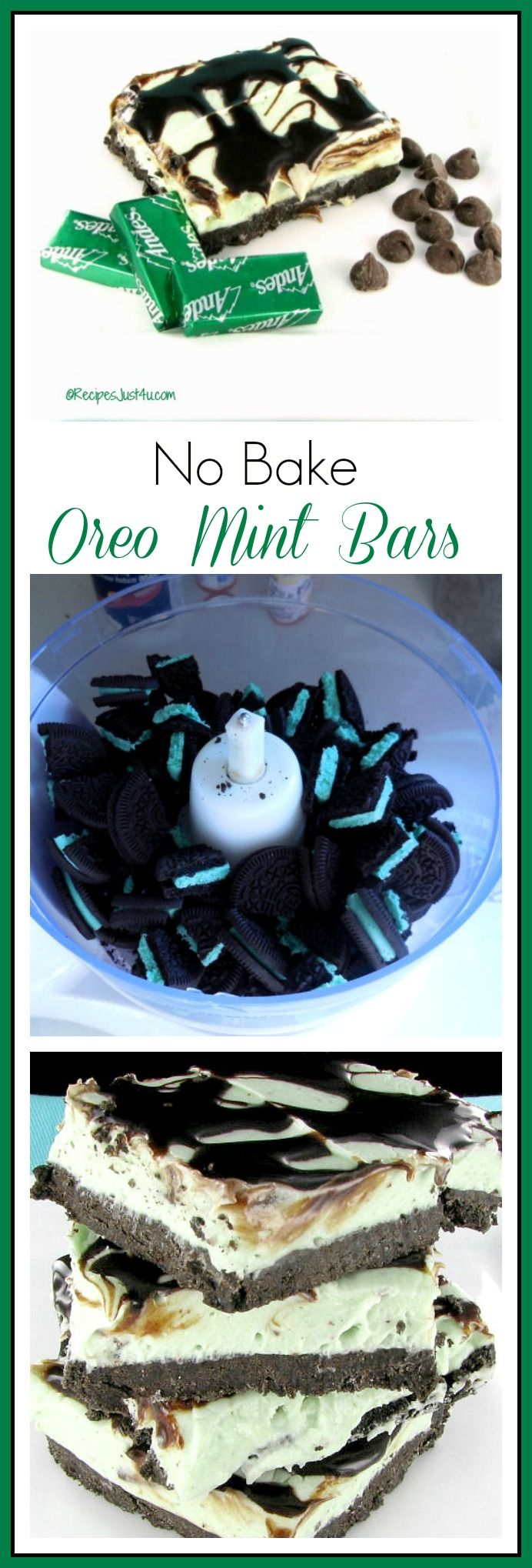 These no bake Oreo mint cheese cake bars have a delightful fresh mint taste - recipesjust4u.com