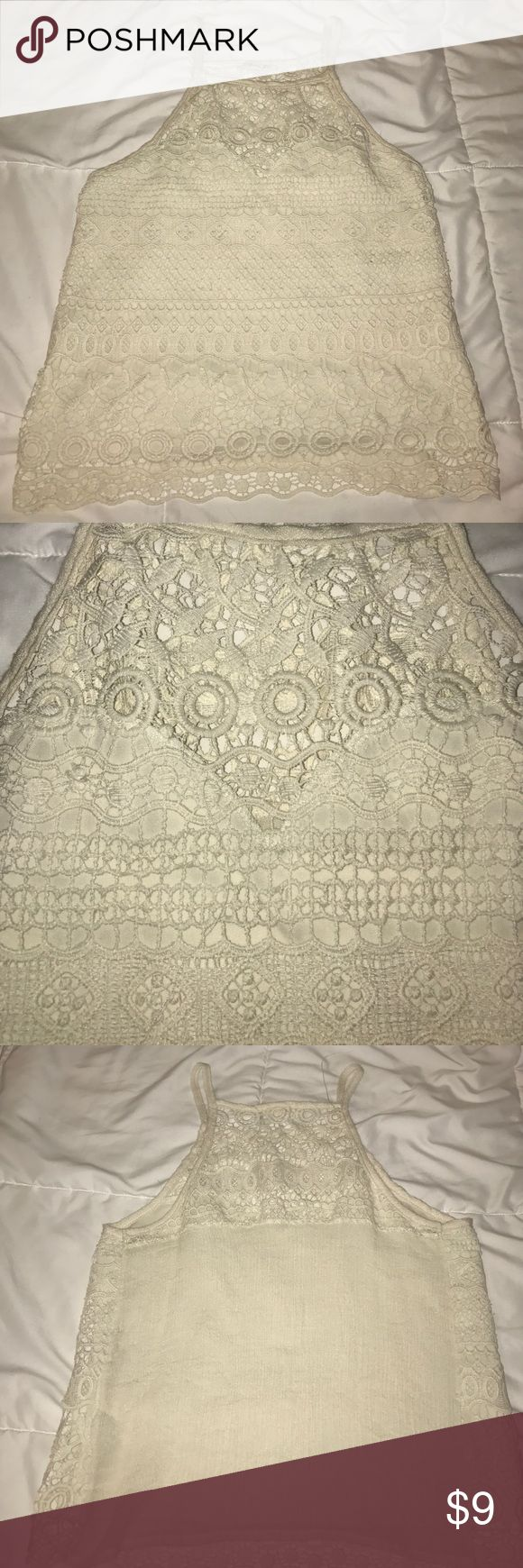 Cream Lace Tank Top Lace Tank too, size small worn a few times Tops Tank Tops