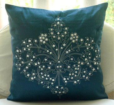 Damask Decorative Teal Blue Silk Euro Sham Cover, 26x26 - traditional - Pillowcases And Shams - The HomeCentric